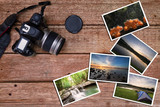 Old camera and stack of photos on vintage grunge wooden background, photography hobby lifestyle concept - 174399220