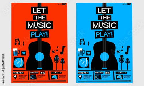 Let The Music Play! (Flat Style Vector Illustration Quote Poster Design) Event Invitation with Venue, Artist, Ticket and Time Details