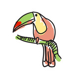 Toucan bird hand drawn icon isolated on white background vector illustration. Mexican ethnic culture element, traditional symbol.