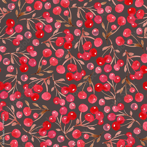 Cotton fabric Watercolor Christmas background of leaves and red berry