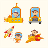 Set of isolated monkey in various transport: airplane, submarine, car, space rocket. Collection of funny monkey in transport in cartoon style. - 174407494