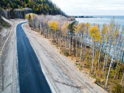 aerial view road shore