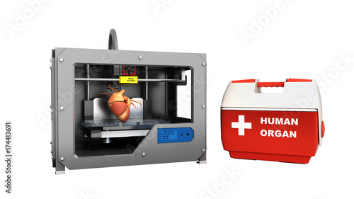 concept of transplantation process of creating human hearts using 3D printer illustration isolated on white no shadow