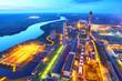 Industrial zone. Industrial factory.Top view.