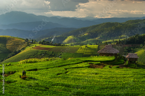 Foto op Aluminium Rijstvelden Rice Terraces Sunset time in rain season