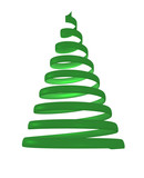 Christmas tree from green spiral. 3d rendering. - 174419056