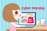 woman with cyber monday - 174422666
