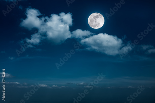 Fotobehang Nachtblauw Landscape of night sky with beautiful full moon, serenity nature background.