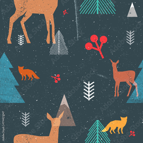 Cotton fabric Christmas seamless pattern with woodland animals and trees in graphic style. Vector illustration with grunge texture and abstract clear forms. Dark blue and brown colors.