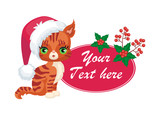 Vector image of a cute purebred kitten in cartoon style. Children's Christmas illustration.