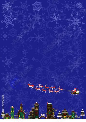 Poster Violet クリスマス 風景 そりとサンタクロース