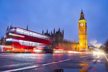 Big Ben in London city, night scene with traffic