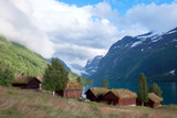 Traditional scandinavian old wooden houses - 174429050