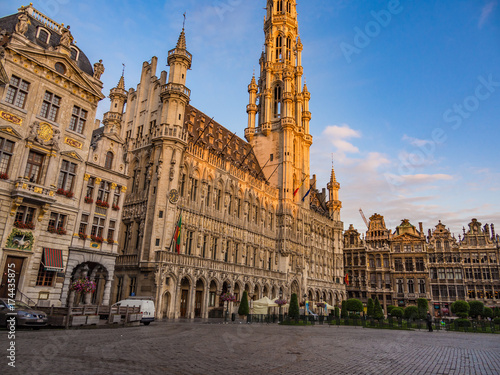 Foto op Aluminium Brussel Morning view of the Grand Place in Brussels, Belgium.