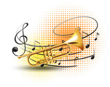 Trumpet with music notes in background - 174436252