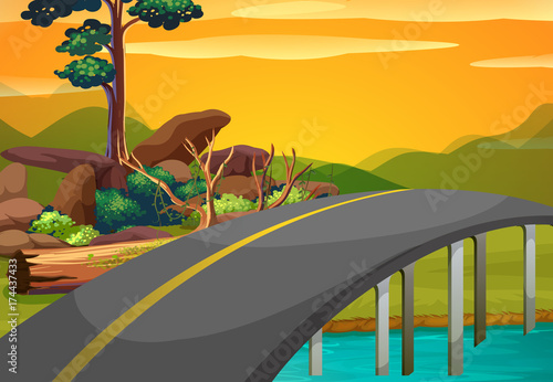 Poster Grijs Scene with bridge across the river at sunset