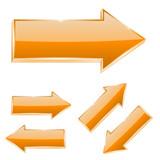 Orange straight arrows. Set of 3d shiny icons - 174437652