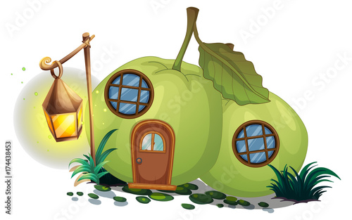 Poster Pistache Guava house with lantern