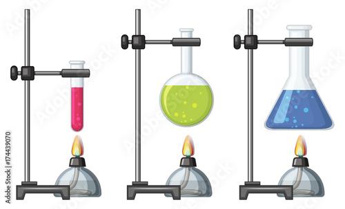 Fotobehang Kids Beakers with chemical and burner