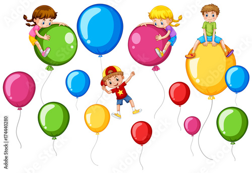 In de dag Kids Happy children and colorful balloons