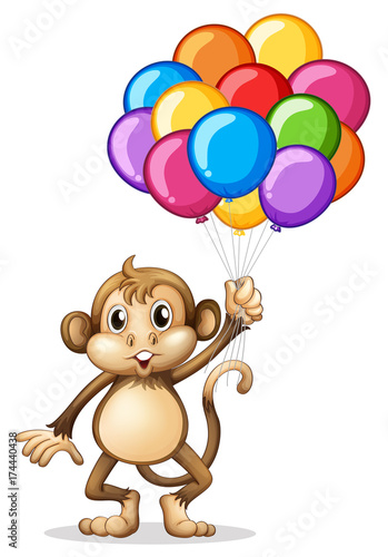 In de dag Kids Cute monkey with colorful balloons