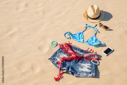 Girls summer clothing outfit in sand