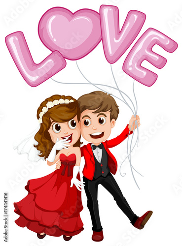 In de dag Kids Wedding couple and love balloon
