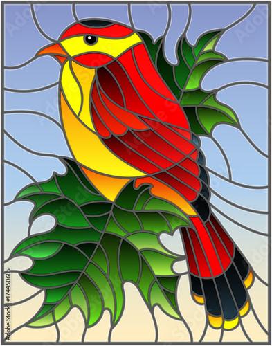 ilustracja-w-stylu-witrazu-z-pieknym-czerwonym-ptakiem-na-tle-galaz-klonowy-drzewo-i-niebo