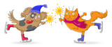 Illustration for new year and Christmas cartoon funny cat and dog skate with sparklers in hand , isolated on white background - 174451095