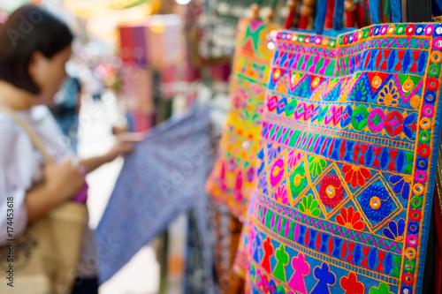 Singapore Chinatown market shopping bag Poster