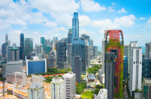 Singapore Downtown skyline. Business architecture Poster