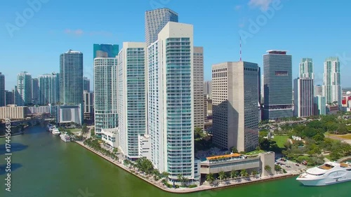 MIAMI, FL - FEBRUARY 2016: Aerial view of Downtown Miami buildings on a sunny day. Miami attracts 15 million tourists annually. © jovannig