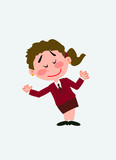White businesswoman. Vector illustration isolated in a funny cartoon style. The character is making a gesture of welcome.