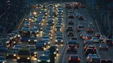 Night traffic on the highway in the city - 174460852
