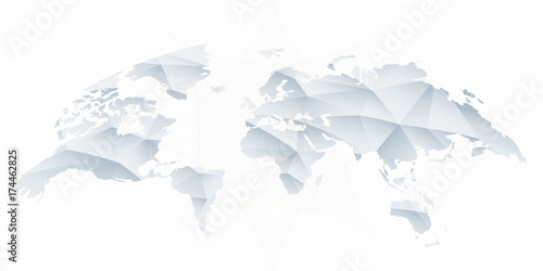Aluminium Wereldkaarten Polygonal triangular rounded vector World Map.
