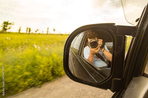 side mirror on the car on the road
