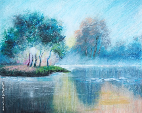 Original oil pastel painting - The Dawn Haze - Impressionism - Modern Art © shvets_tetiana