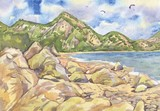 Marine landscape with paragliders, watercolor painting
