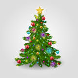 The Christmas tree is decorated with colorful balls, a garland lights and a golden star. Vector illustration.