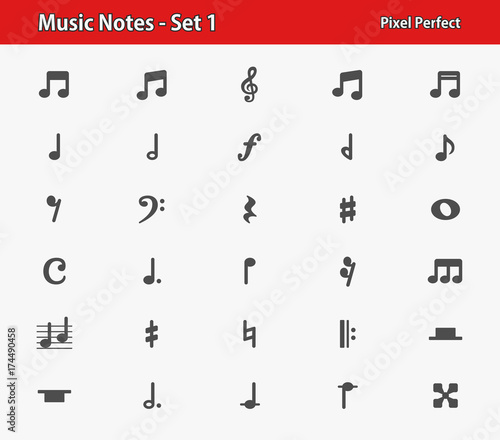 Fotobehang Muziek Music Notes Icons. Professional, pixel perfect icons optimized for both large and small resolutions. EPS 8 format.