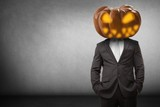 Pumpkin head businessman with copy space - 174491092