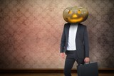 Pumpkin head businessman with copy space - 174491424