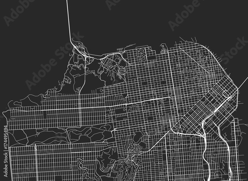 Vector black map of San Francisco - 174495494