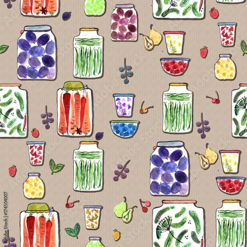 bezszwowy-wzor-z-akwareli-ilustracja-z-roznymi-slojami-z-konserwowac-owocowymi-dzemami-warzywami-i-jagodami