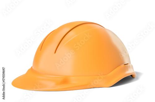 Yellow safety helmet on white background
