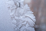 Close-up fantastic frosty pattern in the form of feathers on winter window glass.