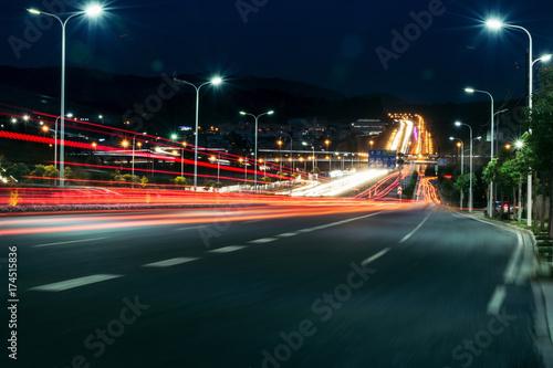 Poster Nacht snelweg The light on the highway