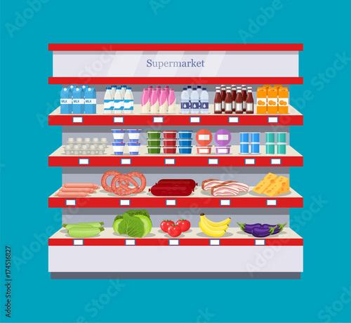 supermarket interior shelf