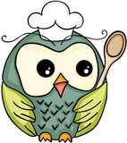 Cook owl with wooden spoon