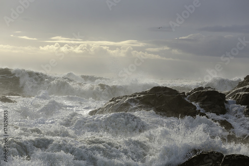 Seascape during a storm with beautiful light